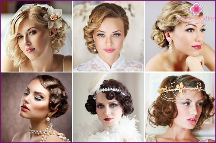 A simple hairstyle for the bride in a cabaret style