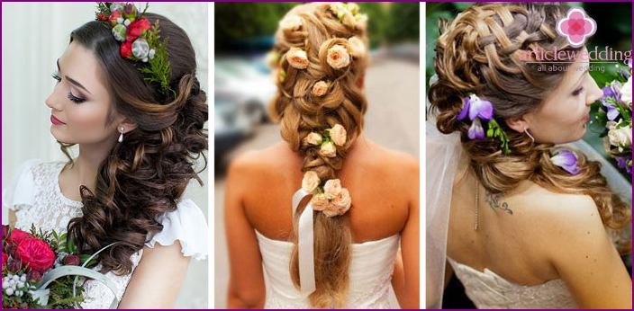 Hairstyles for long hair decorated with flowers