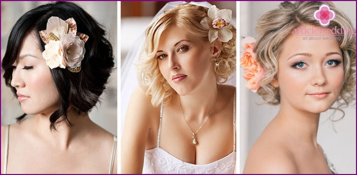 Wedding hairstyles for medium hair decorated with flowers