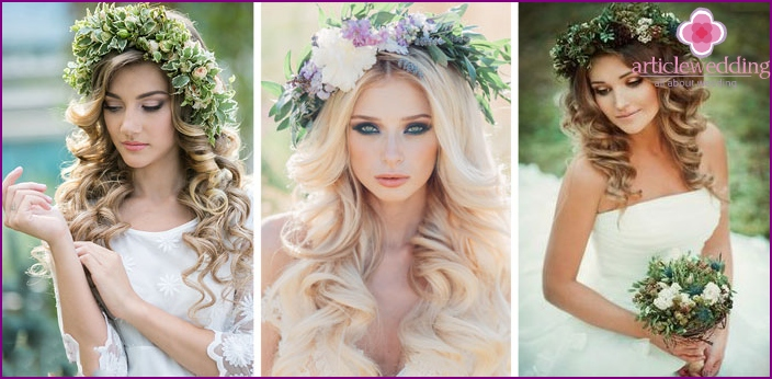 Wedding hairstyles with flowers on medium hair