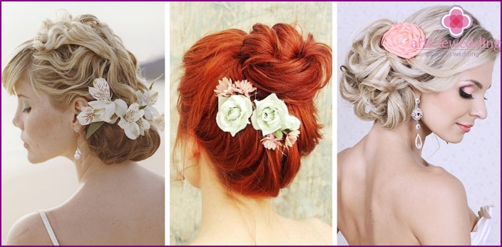 Hairstyle bun with flower side view
