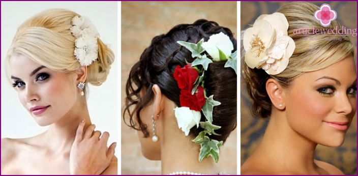 Hairstyle shell with flowers