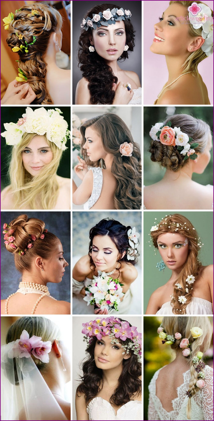 Wedding hairstyles with flowers in hair