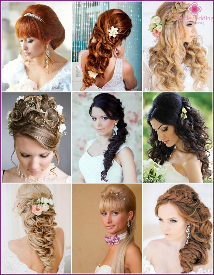 Optionen für Hochzeitsfrisuren für langes Haar