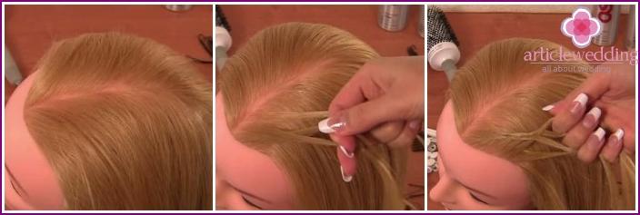 Separate the hair, start braiding