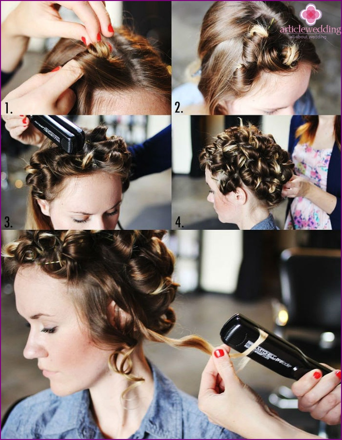 Create curls with an iron