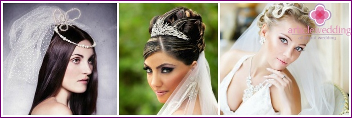 Photo: hairstyles of the bride on medium hair with a veil