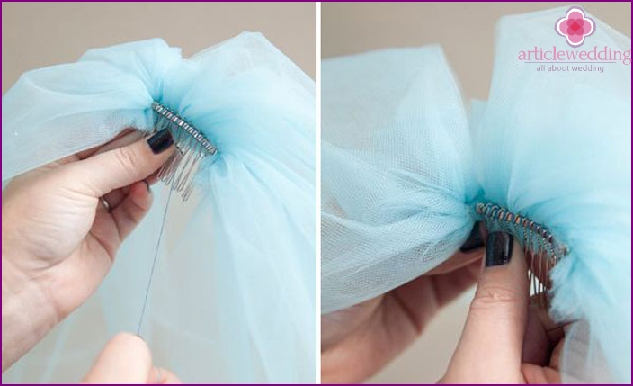 How to sew a hairpin to a wedding accessory