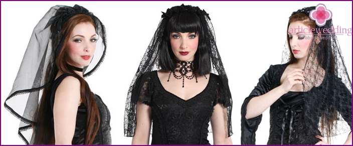 Openwork lace in a gothic wedding style.
