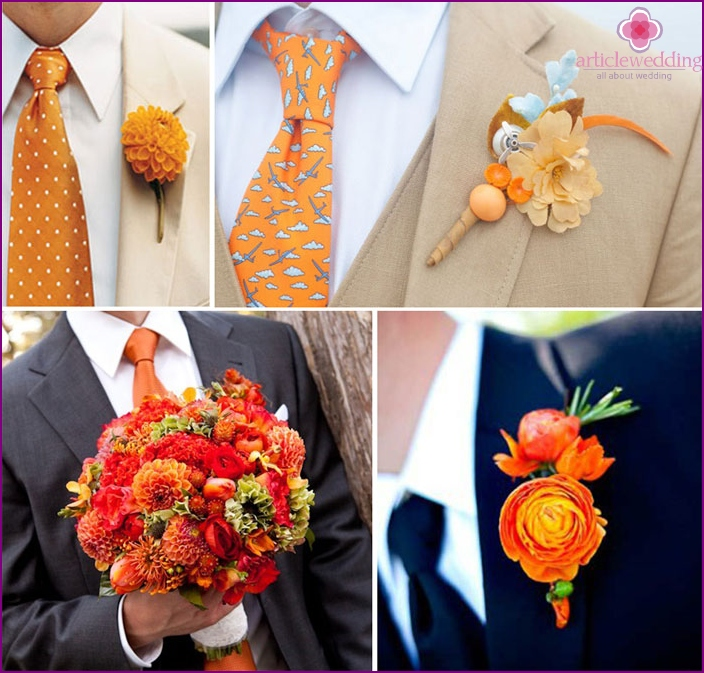 Orange attributes of the groom under the color of the veil