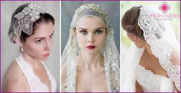 The image of the beautiful bride: veil decoration