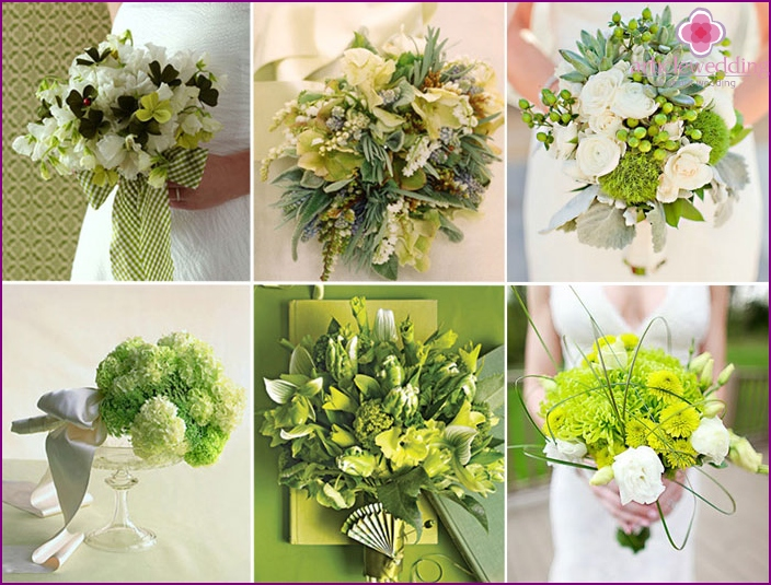 Bridal veil bouquets of green color