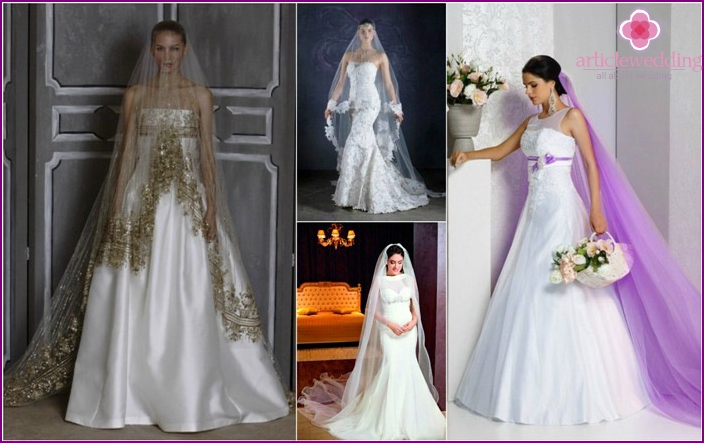 One style bride veil and dresses