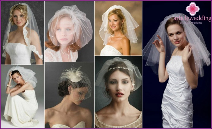 Different lengths of cropped veils for brides