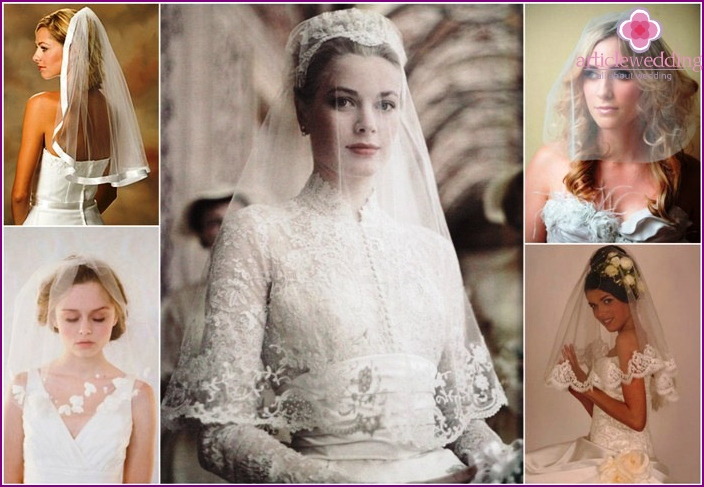 Single-layer cropped bride veil