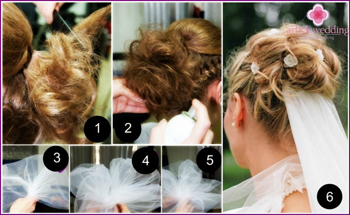 Fastening the veil to the hairstyle