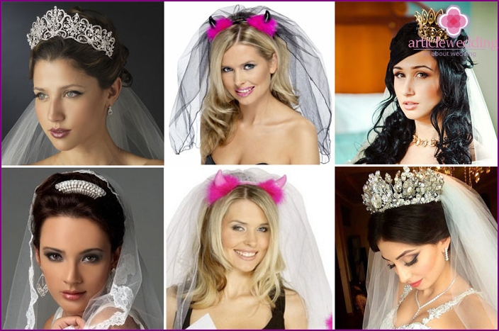 Bridal veil with horns or crown