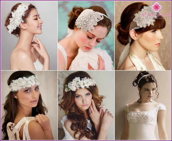 Ribbon or lace as a decoration for the bride's head
