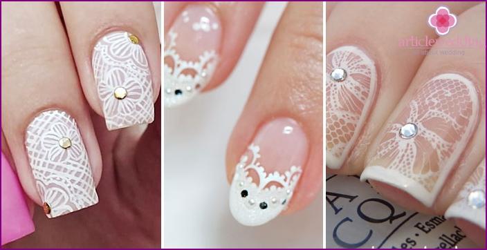 Rhinestone Lace Pattern: Nail Wedding