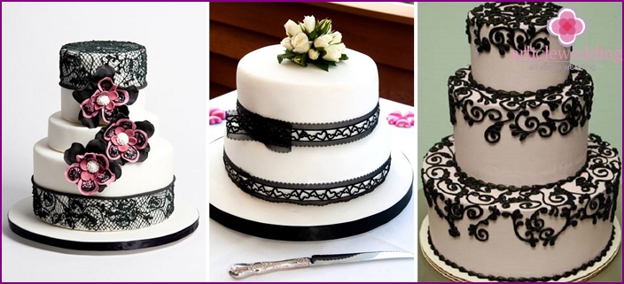 Decoration with black lace patterns