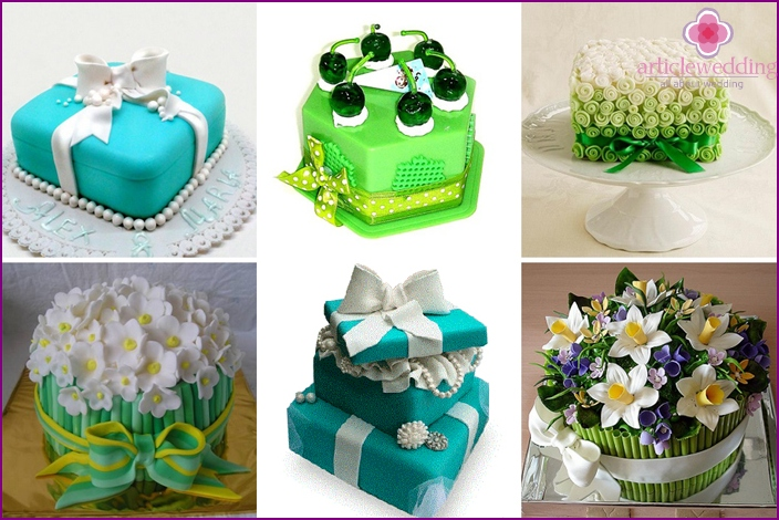 Design in emerald and turquoise colors