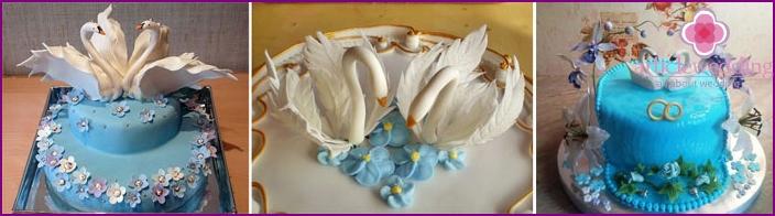 Wedding cake decor with mastic swans