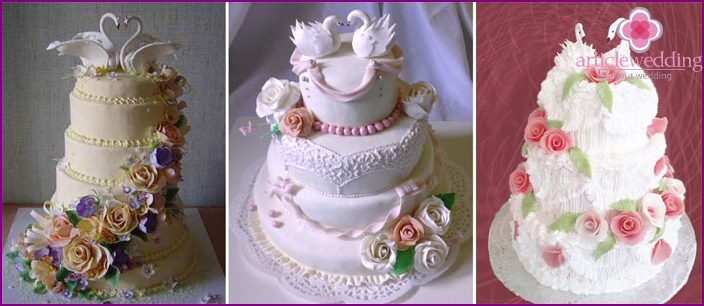 Chic multi-tiered cake for wedding guests