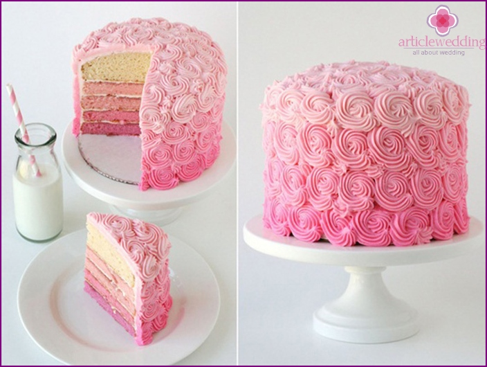 Luxurious pink cake for a wedding party