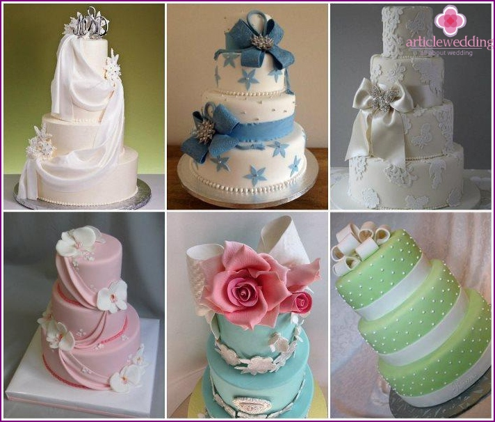 Luxury ribbons, bows in the decor of cakes