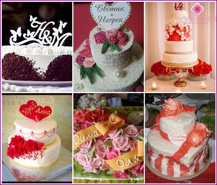 Wedding cakes with the names of the newlyweds