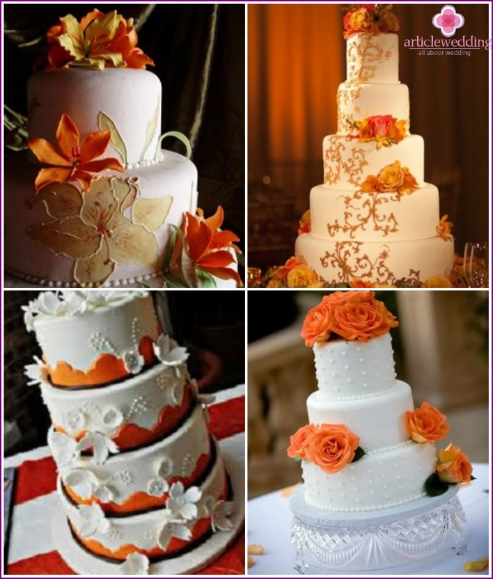 Wedding dessert with white icing and orange flowers.