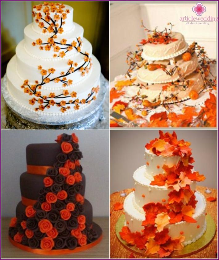 Cascading decor of orange desserts for a wedding