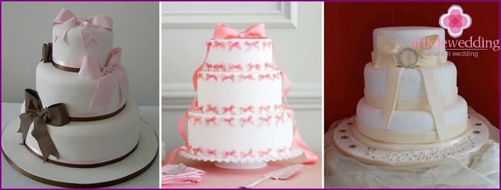 Bowknot Pearl Anniversary Cake