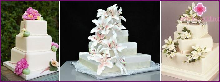 Pearl Anniversary Square Cakes