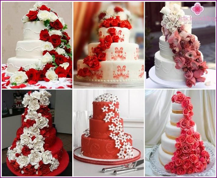 Kaskade von Blumen für eine Hochzeitstorte