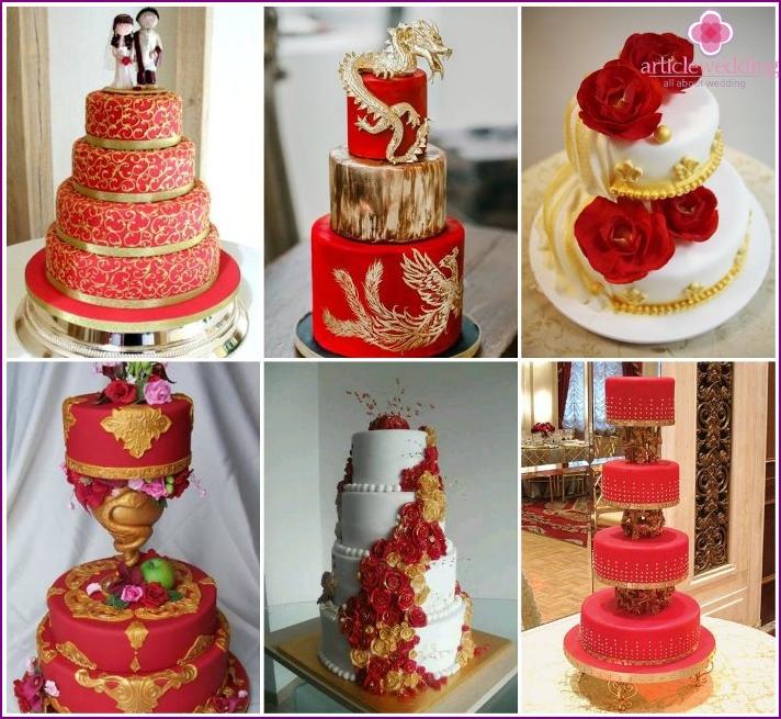 Rot-goldene Hochzeitstorte