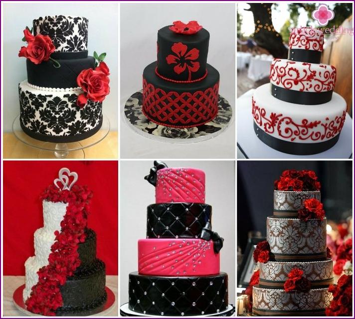 Schwarze und rote Hochzeitstorte