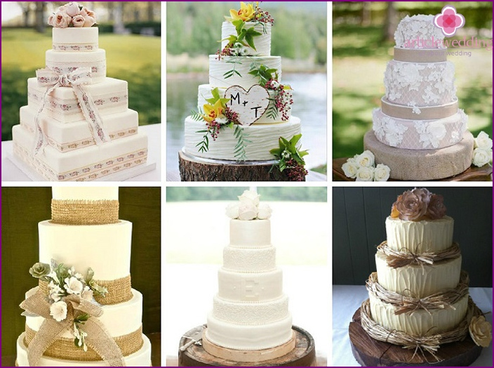 Examples of cream cakes in rustic style