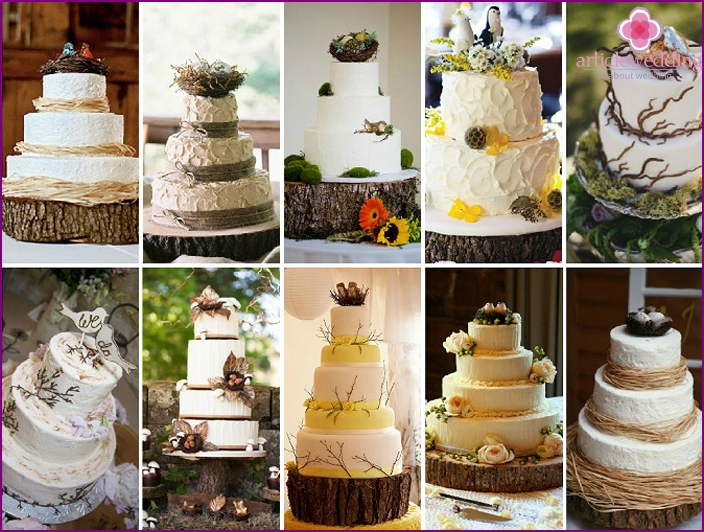 Rustic Wedding Cake Nests