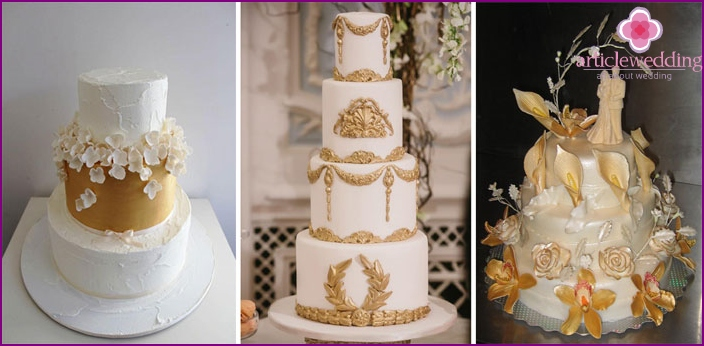 Pastries with a golden decor for 50 years of wedding