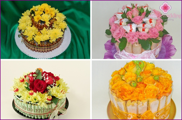 Desserts with fresh flowers