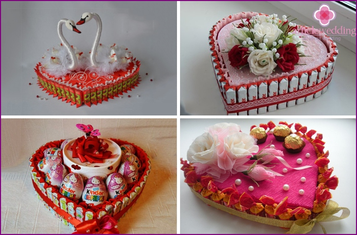 Heart shaped candy cakes