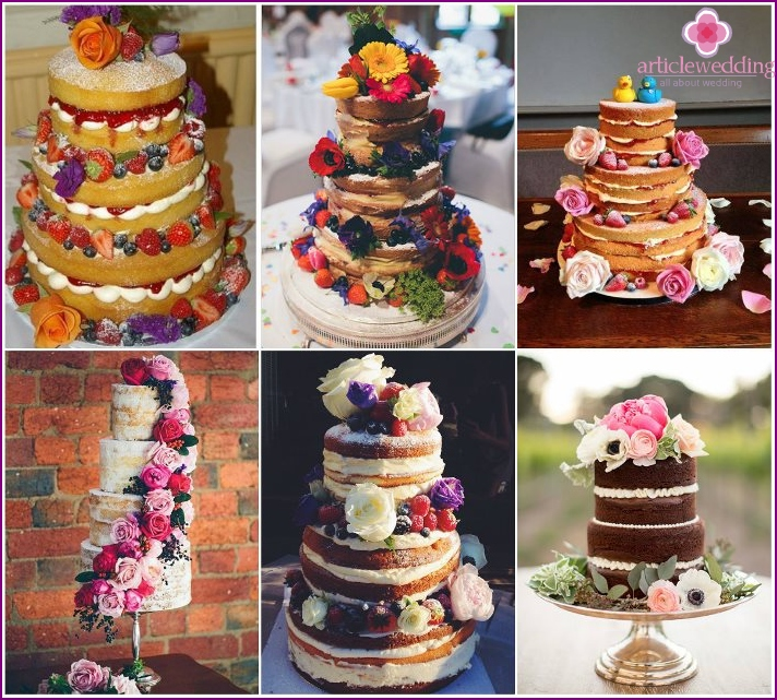 Fresh flowers for a decor of a naked cake