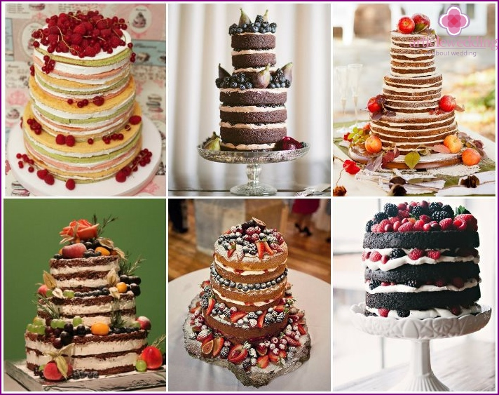 Popular decoration Naked cake with berries, fruits