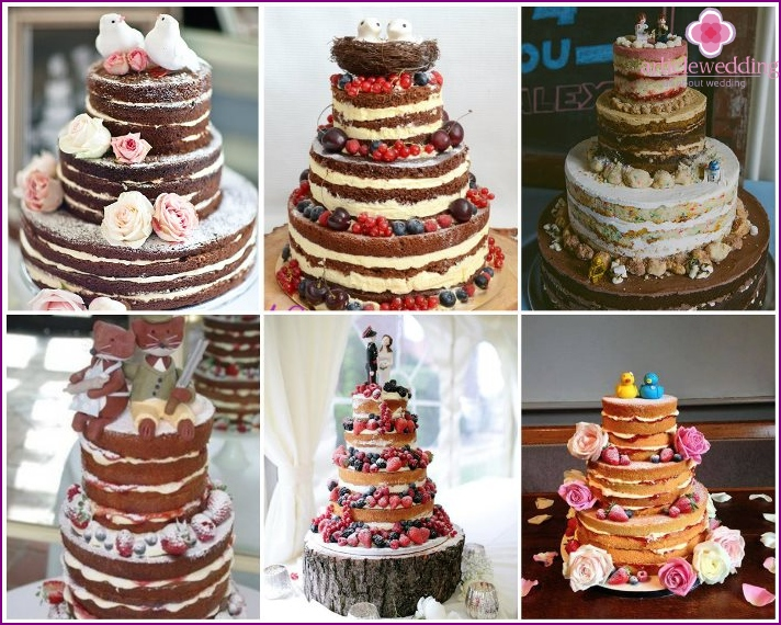 Decoration of a wedding naked cake with figurines