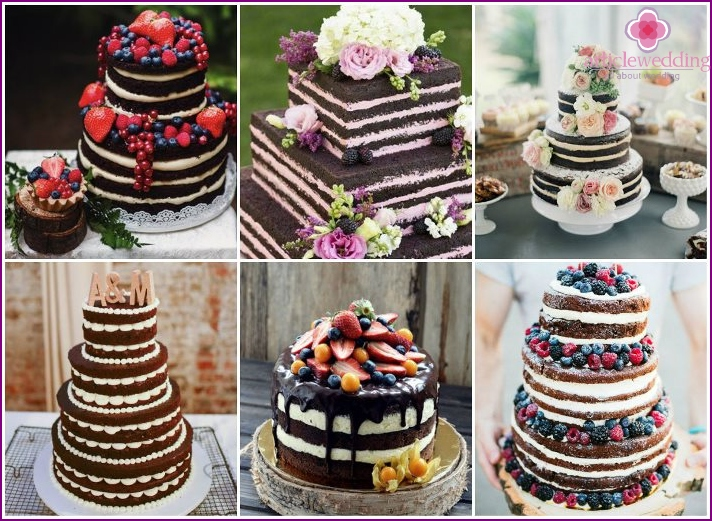 Chocolate cakes for a wedding dessert Naked cake