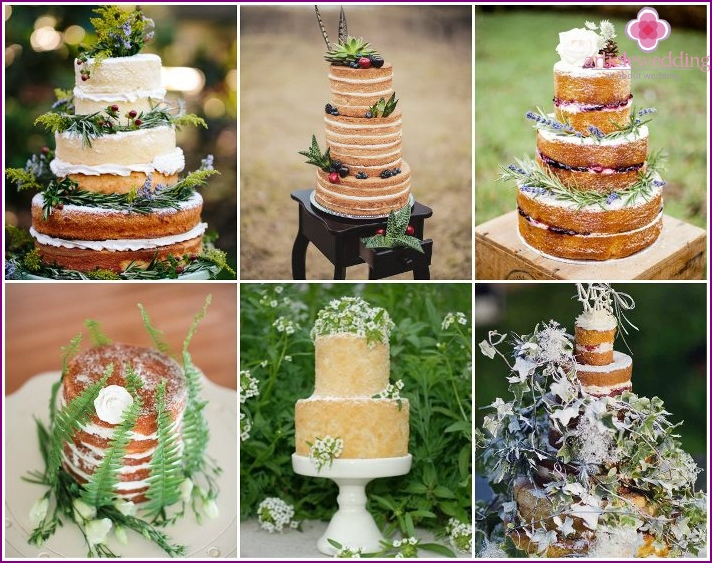 Sprigs of spicy greens on a wedding naked cake