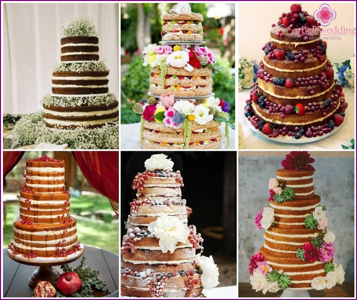 A variety of options for naked cakes for the wedding ceremony