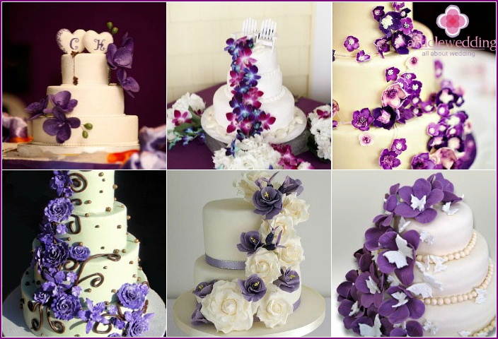 Decoration of a purple dessert for a wedding with flowers