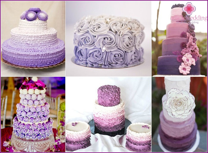 White and purple ombre cake for a wedding